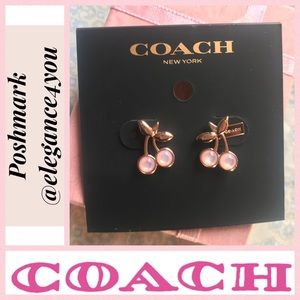 ✨COACH✨Rosegold Cherry Stud Earrings NEW!